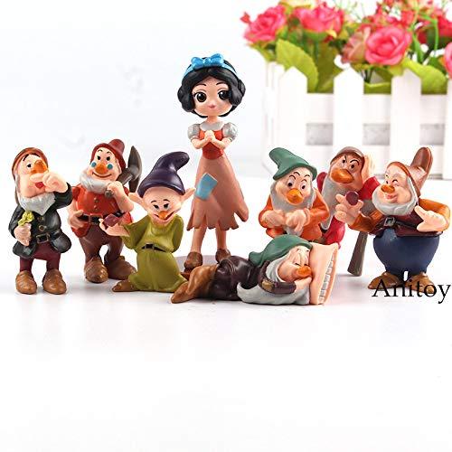 LANKANA Cartoon Princess Snow White and The Seven Dwarfs PVC Figures Toys Mini Collection Model Doll for Kids 8pcs/Set 1 PCs