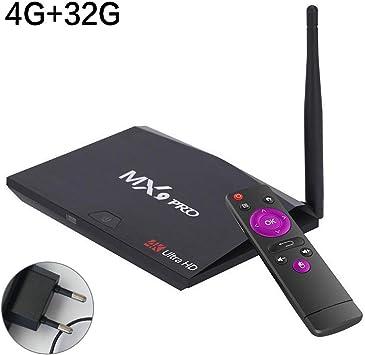Android TV Box, MX9 Pro 4 GB RAM 32 GB ROM Smart Streaming Box 2.4 G/5G WiFi BT 4.1 Kodi H.265 vp9 HDR UHD 3D 4 K TV Box: Amazon.es: Electrónica
