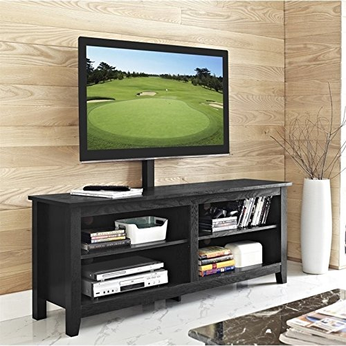 """WE Furniture 58"""" Wood TV Stand Console with Mount, Black"""