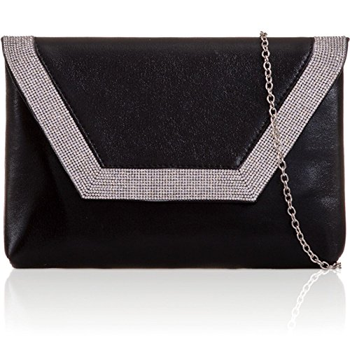 Women Diamante Flat Clutch London Prom Metallic Black Leather Bags Bridal Envelope Xardi Evening PU 0BZ4qx8