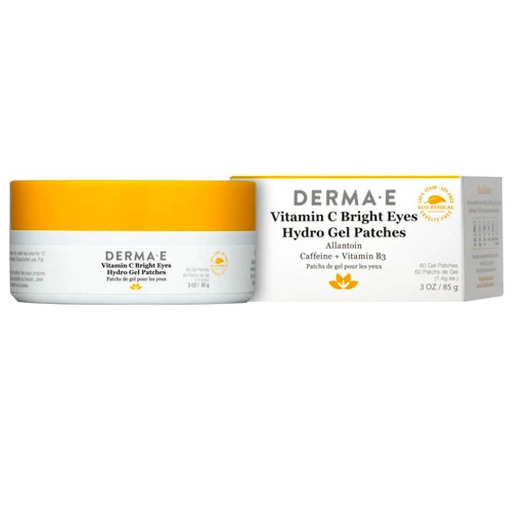 DERMA E Vitamin C Bright Eyes Hydro Gel Patches Instantly Transform Dark Circles, Puffy, Dry, Eyes into Well-Rested, Younger-looking Eyes! These moisturizing, Vitamin C Anti-Aging Gel Pads for Under-Eye Enriched with Phytonutrients, Antioxidants & Vitamins Hydrate and Brighten!