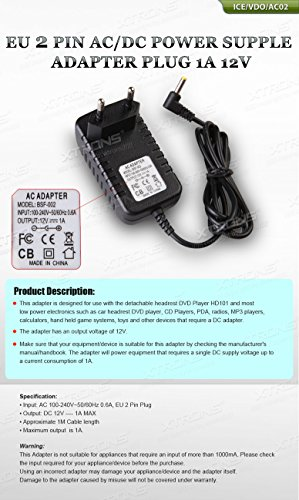XTRONS EU 2 PIN AC/DC Power Supply Adapter Plug 1A 12V