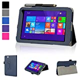 Evecase Toshiba Encore Mini WT7-C Case, SlimBook Leather Folio Stand Case Cover with Magnetic Closure for Toshiba Encore mini WT7-C16 / C32 7-inch Windows 8.1 Tablet - Blue