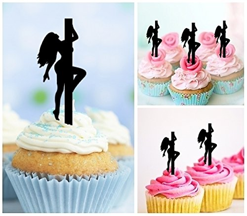 TA0134 Sexy Pole Dance Girl Silhouette Party Wedding Birthday Acrylic Cupcake Toppers Decor 10 pcs by jjphonecase (Image #1)