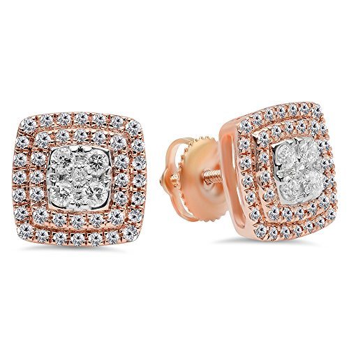 0.65 Carat (Ctw) 10K Rose Gold Round Cut White Diamond Ladies Cluster Style Stud Earrings by DazzlingRock Collection