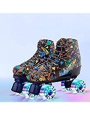احذية تزلج للنساء باربعة عجلات بتصميم لامع مناسبة للبالغين والصبيان والبنات، بساق عالية للاستخدام خارج المنزل، مع شنطة لحفظ الحذاء