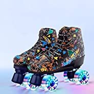 Gets Roller Skates, Classic High-top for Adult Outdoor Skating Light-Up Four-Wheel Roller Skates for Teens and