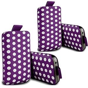ONX3 - TWIN PACK - Alcatel One Touch 20.00 Polka cuero PU Tire de la lengüeta de protección de la piel cubierta de la bolsa (púrpura)