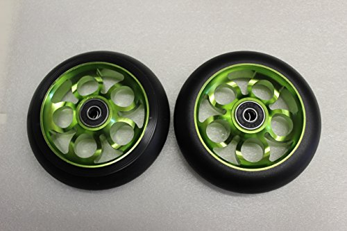 2017 Scooter 110MM Aluminum Core Wheelset W/ Abec 9 Bearings, Black & Green