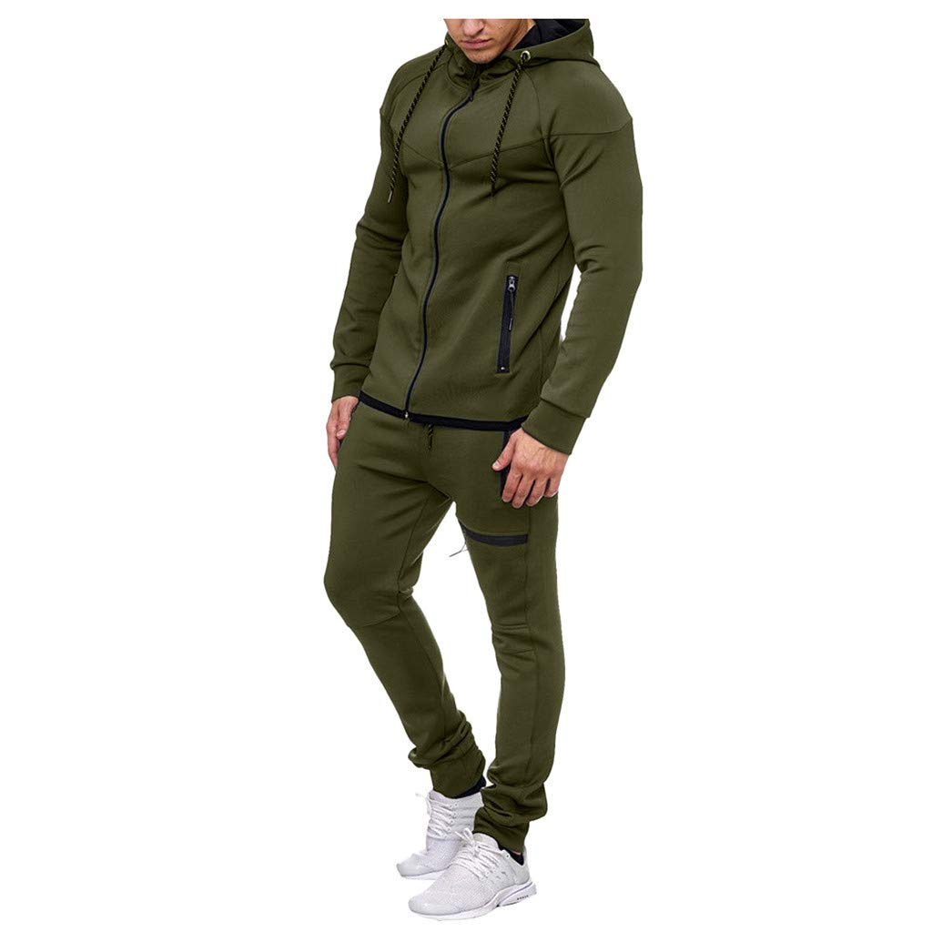 VZEXA Mens Sport Suit Autumn Winter Solid Sweatshirt Top Pants Sets Tracksuit by VZEXA