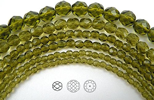 3mm (405 beads) Olivine, Czech Fire Polished Round Faceted Glass Beads, 3x16 inch strand