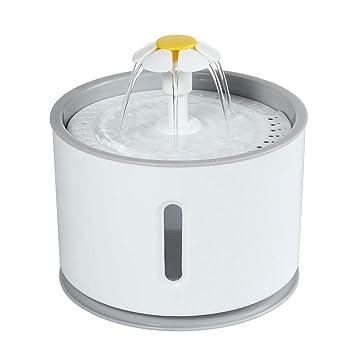 Fuente de Agua Gatos y Perros 2.4L Eléctrico Automático Fuente de Flor con Bomba silenciosa y Filtro reemplazable, Dispensador de Agua automático Luminoso ...