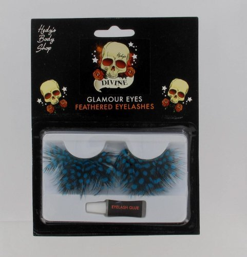 Blue Feathered, Glamour Eyes, Polka Dot Halloween Costume Eyelashes Accessory