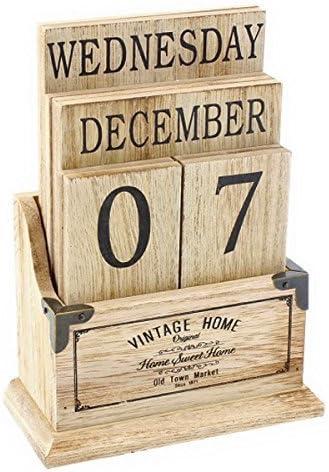 Calendario de escritorio, madera, estilo vintage: Amazon.es: Hogar