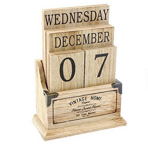 Vintage Wooden Perpetual Calendar Desk Top Eternal Calender Blocks