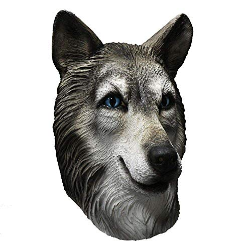 (COMLZD Husky Dog Mask Latex Animal Full Head Mask in Blue Eyes, Wolf Party Costumes Fancy Dress Carnival)