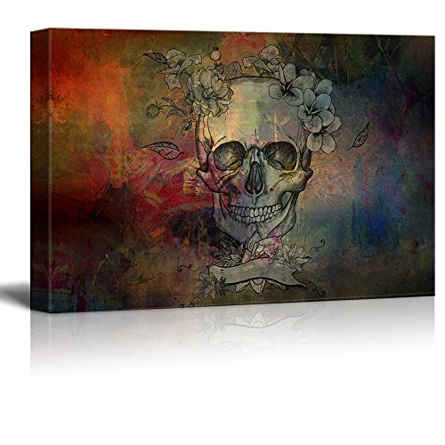 wall26 - Canvas Print Wall Art - Day of The Dead (Dia De Los Muertos) Themed Skull with Flowers - Gallery Wrap Modern Home Decor | Ready to Hang - 24x36 inches -