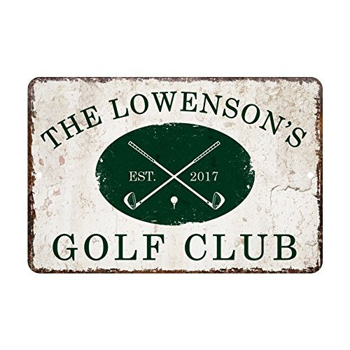 - Georgia Barnard Custom Personalized Vintage Distressed Look Golf Club Metal Sign for Home Decor 12