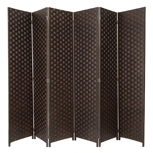 - MyGift Large Woven Paper Rattan 6-Panel Room Divider with Two-Way Hinges, Brown
