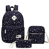Teen Girl Backpacks High School,Miya Cute Teens Backpack Set 3 Pcs Bookbags Travel Rucksack Laptop Daypack Shoulder Purse Boys Girls Women Men - Blue