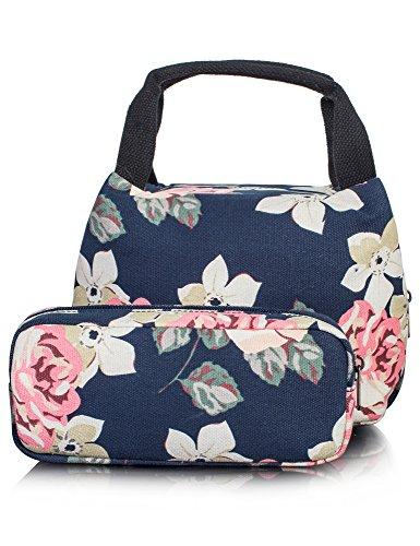 Leaper Insulated Lunch Bag Cute Lunch Box Pencil Case Bag 2 PCS Dark Blue
