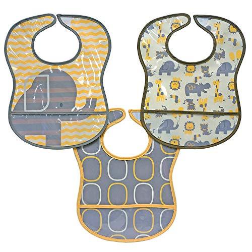 Koala Baby Water Resistant PEVA/PE 2 Layer Printed EZ Wipe Toddler Bib with Crumbcatcher - Elephants & Giraffes -Grey/Yellow - 3 Pack