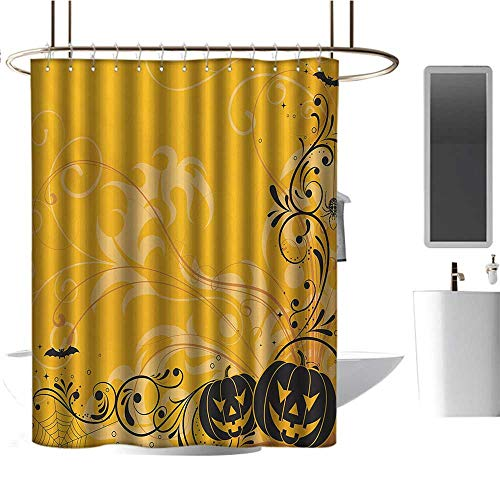 TimBeve Shower Curtain Halloween,Carved Pumpkins with Floral Patterns Bats and Web Horror Jack o Lantern Artwork,Orange Black,Waterproof Washable Bathroom Curtain 54
