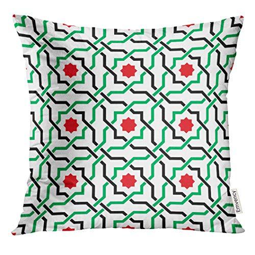 (Emvency Throw Pillow Cover Green Arabesque of Geometric Arabic Pattern in UAE Flag Colors Red Modern Decorative Pillow Case Home Decor Square 16x16 Inches Pillowcase)