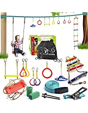 Ninja Slackline Backyard Obstacle Training Course 50' Slackline – The Most Complete Hanging Monkey Bars kit for Kids with Ladder and Swing - Portable Training Equipment Gift Set for Kids