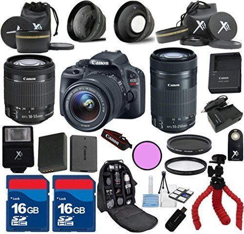 Canon SL1 Camera with 18-55mm IS STM + 55-250mm IS STM + 24pc Kit - International Version