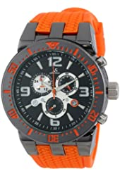 Joshua & Sons Men's JS55OR  Round Black Radiant Sunburst Dial Quartz Chronograph Gray Strap Watch