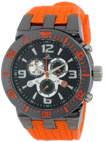 Markers Automatic Chronometer - Joshua & Sons Men's JS55OR  Round Black Radiant Sunburst Dial Quartz Chronograph Gray Strap Watch