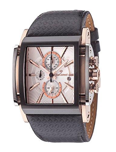 Yves Camani Escaut Men's Quartz Watch Black Rosegold Stainless Steel Chronograph Leather Strap YC1060-C