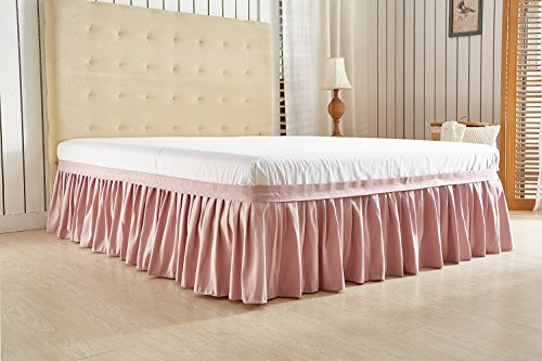 Pink Queen Ruffle Dust - Omelas Elastic Dust Gathering Ruffle Pleated Bed Skirt Plain Solid Color Quality Microfiber Wrinkle Fade Stain Resistant 3 Sided Coverage Bedskirt 16 inch Drop (Mauve Pink, Queen)