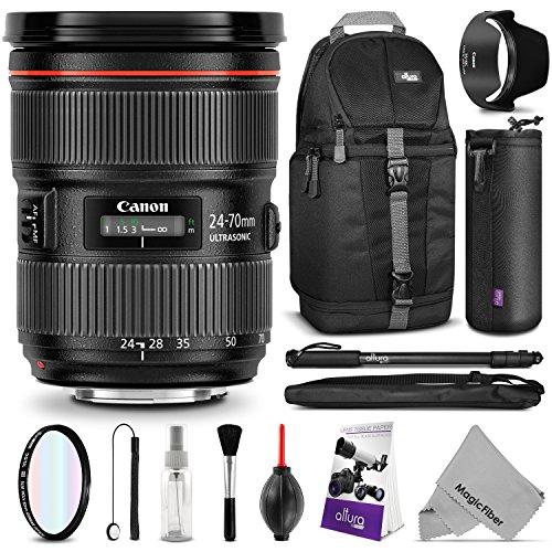 Price comparison product image Canon EF 24-70mm f/2.8L II USM Standard Zoom Lens w/ Essential Bundle - Includes: Camera Sling Backpack, Monopod, Altura Photo Ultra Slim UV, Camera Cleaning Set