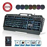 KLIM Lightning Gaming Keyboard - Semi Mechanical - Led 7 Colors Light Up, Metal Frame, Ergonomic - Compatible PC PS4 Mac Keyboards - Office Computer Membrane Gamer Wired USB Teclado - RGB Rainbow Keys