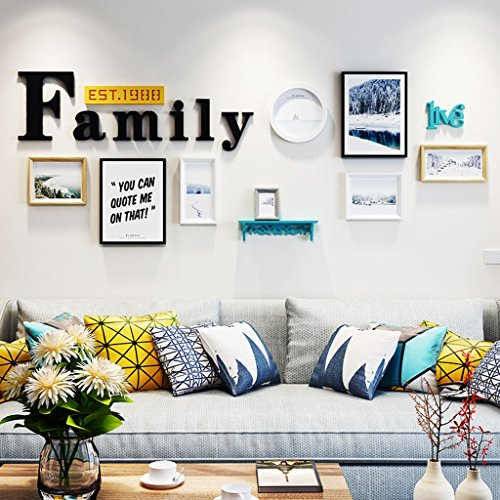 Home@Wall photo frame Photo Frame Sets,Living Room Photo Frame Wall Creative Combination Sofa Background Frames Sets Of 8 ( Color : C , Size : 8frames/23386CM ) by ZGP