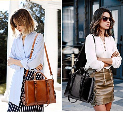 IYGO Leather Tote Bag for Women, Leather Top-Handle Shoulder HandBag Tote Bag Waterproof Crossbody Bag by IYGO (Image #4)
