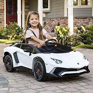 Best Choice Products Kids 12V Ride On Lamborghini Aventador SV Sports Car Toy w/ Parent Control, AUX Cable, 2 Speeds…