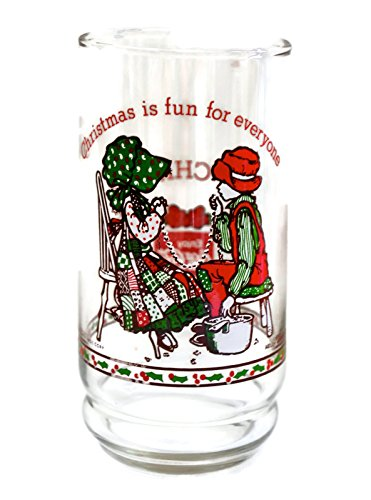 (Christmas Is Fun for Everyone Coca-cola 1977 Holly Hobbie Christmas Glass Limited Edition 1 of 4)