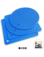 Q's INN Blue Silicone Trivet Mats | Hot Pot Holders | Drying Mat. Our 7 in 1 Multi-Purpose Kitchen Tool is Heat Resistant to 440°F, Non-slip,durable, flexible easy to wash and dry and Contains 4 pcs.