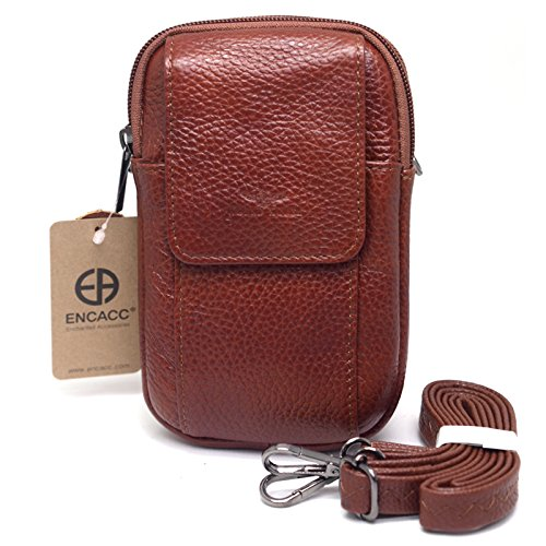 c8137e520613 Galleon - Small Bag Waist Pack Messenger Bags Tactical Cellphone Phone  Pouch Leather Travel Bags Cases Holsters Saddlebag (E04 BROWN)