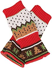 FENICAL Gloves Warm Knitted Crochet Gloves Christmas Tree Pattern Long Fingerless Arm Warmers Gloves Mittens