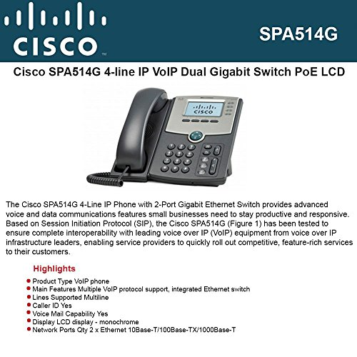 Silver Grey PoE and LCD Display Cisco SPA504G 4-Line IP Phone with 2-Port Switch Renewed