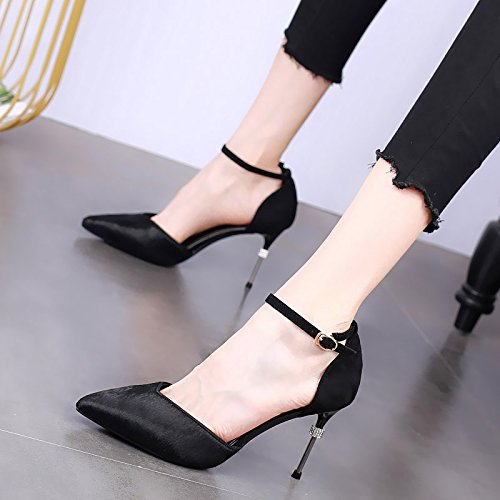 KPHY-Damenschuhe Spitzer Kopf 9Cm Hochhackigen Schuhe Schuhe Schuhe Dünn und Oberflächlich Mund Modische Anstrich Seite Luft Wasser Läuft Einzelne Schnalle Schuhe. ad0531