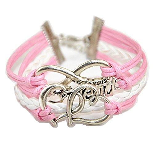 ACUNION™ Handmade Infinity Love Friend Charm Friendship Gift Leather Bracelet for Girl - Pink