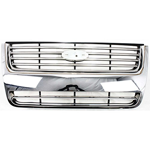2010 Ford Explorer Grill - Grille for Ford Explorer 06-10 Plastic Chrome Shell/Painted-Black Insert XLT/Limited Models