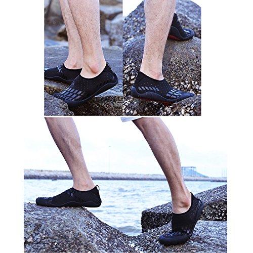 Cool&D Herren Aquaschuhe Aqua Schuhe Wasserschuhe Wanderschuhe Atmungsaktiv Strandschuhe Schwimmschuhe Badeschuhe Surfschuhe Schwarz