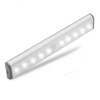 10 LED Recargable Sin Hilos Accionado Por Batería PIR Sensor de Movimiento Brillante luz Nocturna Bar