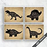 T-Rex, Stegosaurus, Triceratops, Brontosaurus (Butcher Diagram Series) Set of 4 5x7 inch Unframed Art Prints (Featured in Black animal on Cork Board Style) Kitchen Art / Wall decor